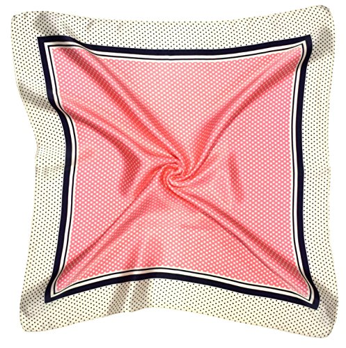 (Pink Cream Spotted Printed Small Thick Silk Square Scarf)