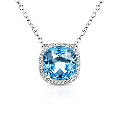 Alantyer Birthstone Lucky Stone Pendant Necklace for Women with Crystal Beautiful Gift Box oMuesA3