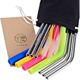 TISRO Reusable Straws, 6 Metal+4 Silicone(BPA Free) Boba Drinking Straws, 3rd.Generation Anti-Scratch Stainless Steel Straws with Cleaning Brushes and Carry Bag.(Black)