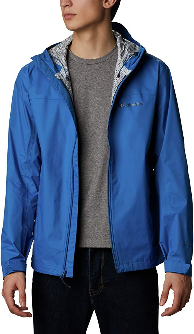 This is an image of a man wearing a jacket, blue color, unzippered and hood hanging loose