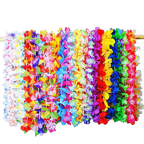 (Tonmp 36 PCS Tropical Hawaiian Luau Leis Necklaces,Hibiscus Flowers Tiki Summer Pool Party Favors Supplies)