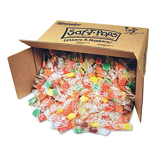 SPANGLER CANDY COMPANY 545 Saf-T-Pops, Assorted Flavors, Individually Wrapped, Bulk 25lb Box, 1000/Carton by Spangler Candy (Image #1)