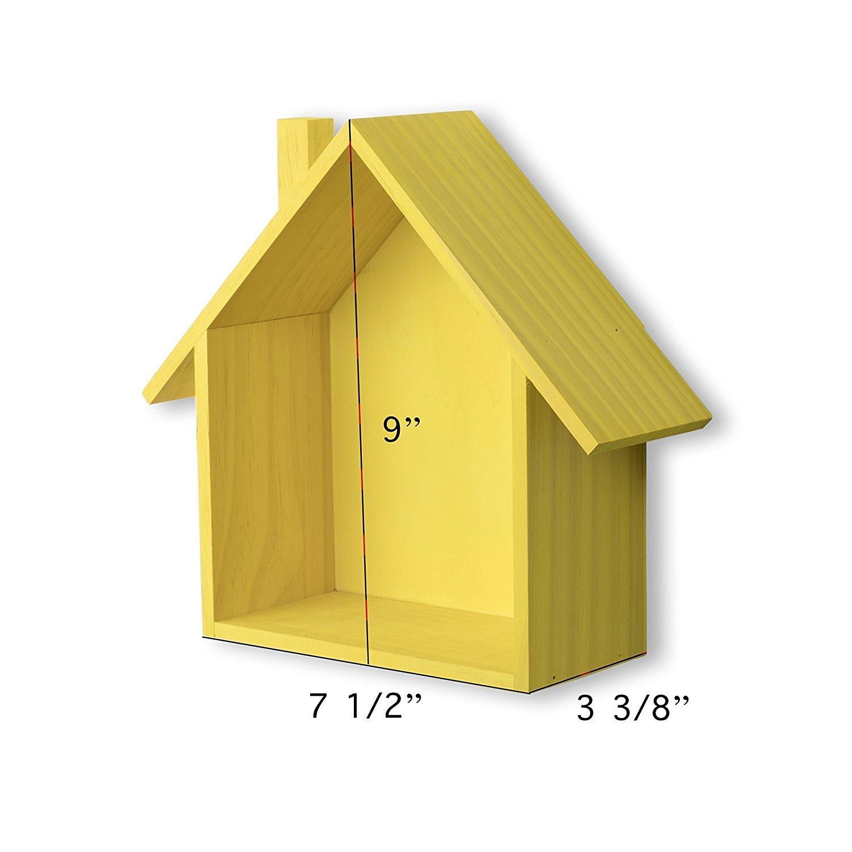 Amazon.com: Brightmaison Petite House Shape Wood Wall Shelf Display ...