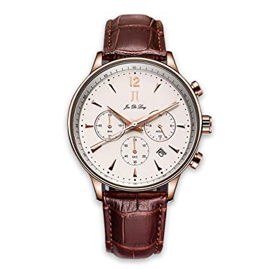Mens Wrist Watches Stainless Steel Watch Leather Band Waterproof Watch Modern Fashion Boss Quartz Watch for Business Male Chronograph Wristwatch Rose Gold