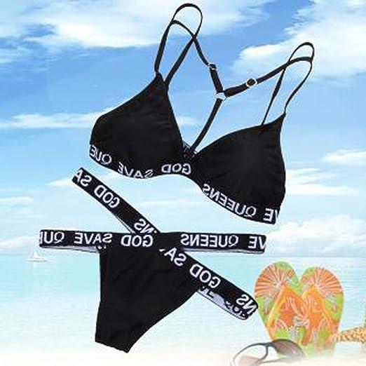 Bikini, Internet_Women Bikini Breast Pad Printed Letter, Sexy ...