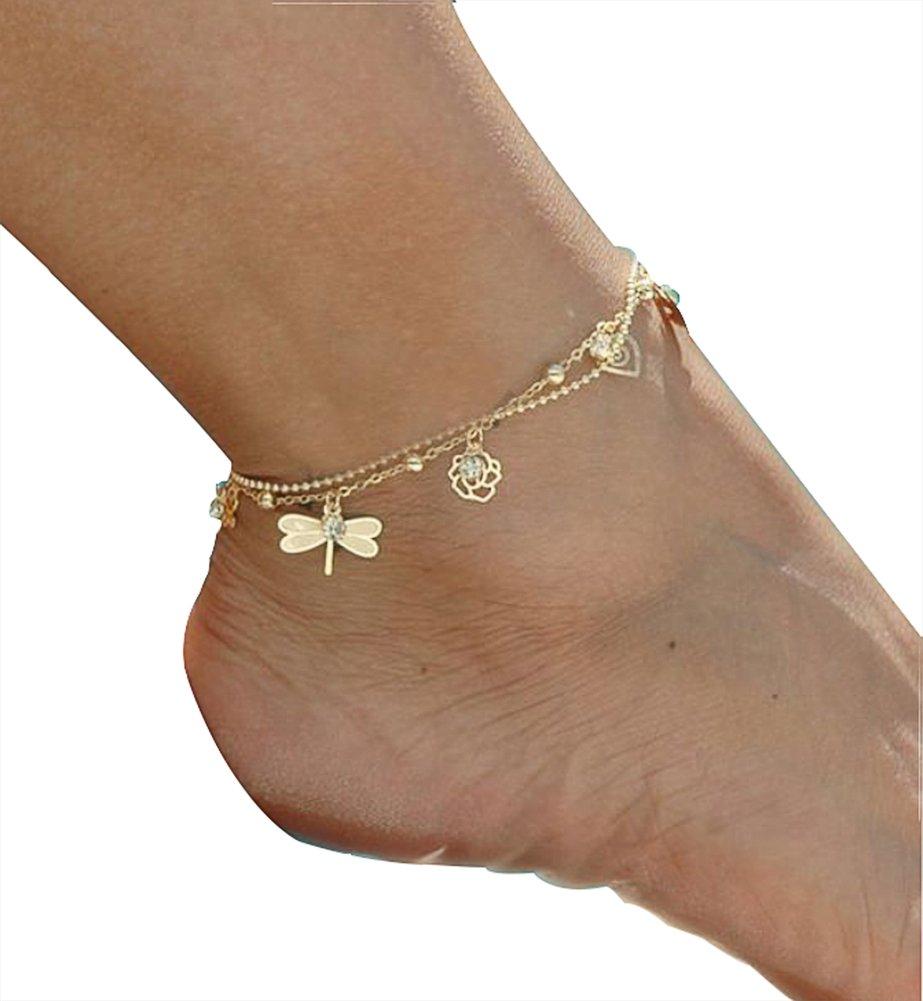 AIUIN 1x bracelet de cheville argent Golden Bracelets de cheville pour femmes de la accessoires de bijoux avec un sac de bijoux Feuille