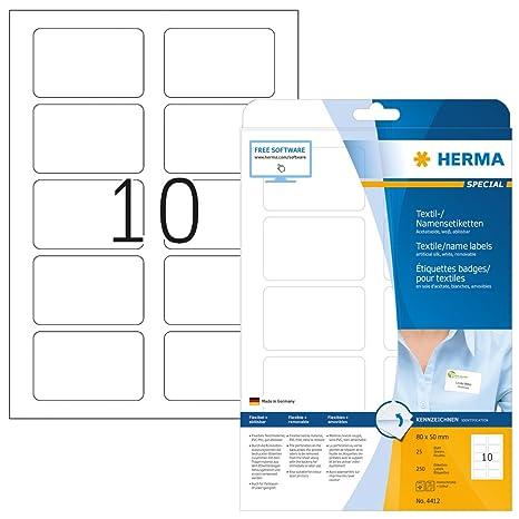 Herma 4412 Namensetiketten ablösbar (80 x 50 mm) weiß, 250 ...