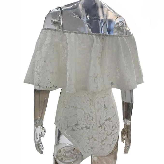 Amazon.com: Teresamoon Lace Jumpsuit, Womens Ladies Off Shoulder Bodysuit Stretch Party Top: Clothing