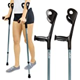 Vive Forearm Crutches (Pair) - Lightweight Arm Cuff Crutch - Adjustable, Ergonomic, Heavy Duty for Standard and Tall Adults -