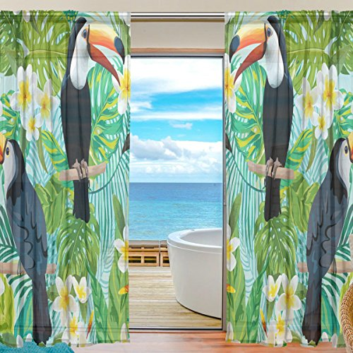 SEULIFE Window Sheer Curtain, Tropical Flower Toucan Bird Palm Leaves Voile Curtain Drapes for Door Kitchen Living Room Bedroom 55x84 inches 2 Panels by SEULIFE