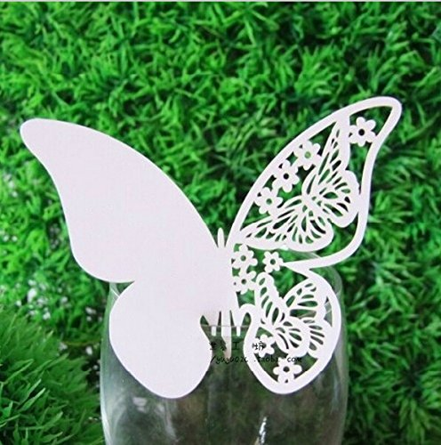 Worldoor50 White Butterfly with Flowers Laser Cut Wedding Table Number Name Place Card Wedding Party Decoration Favoraser Cut Butterfly Place Card, Laser Cut Wedding Invitation Cards Butterly Wine Glass Escort Cards ()