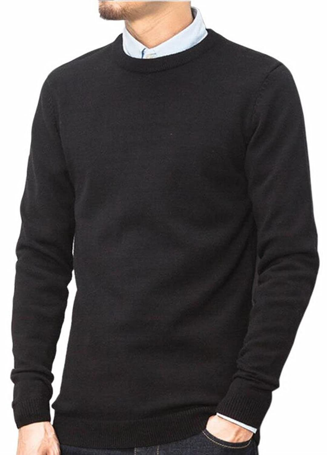 Cheap FLCH+YIGE Mens Classic Round Neck Pure Color Soft Thin Pullovers Sweater