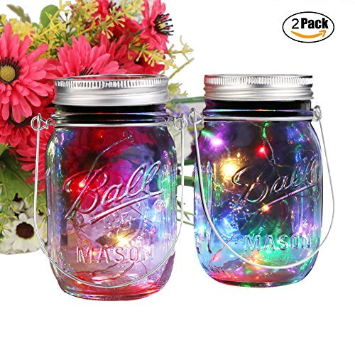 2 Pack Solar Mason Jar Lights, 10 LED Multi-Color Jar String Fairy Hanging Light-Garden Outdoor Solar Lanterns, Mason Jar Decor Solar Light, Patio Path Light for Christmas Halloween (2Pack-MutiColor)