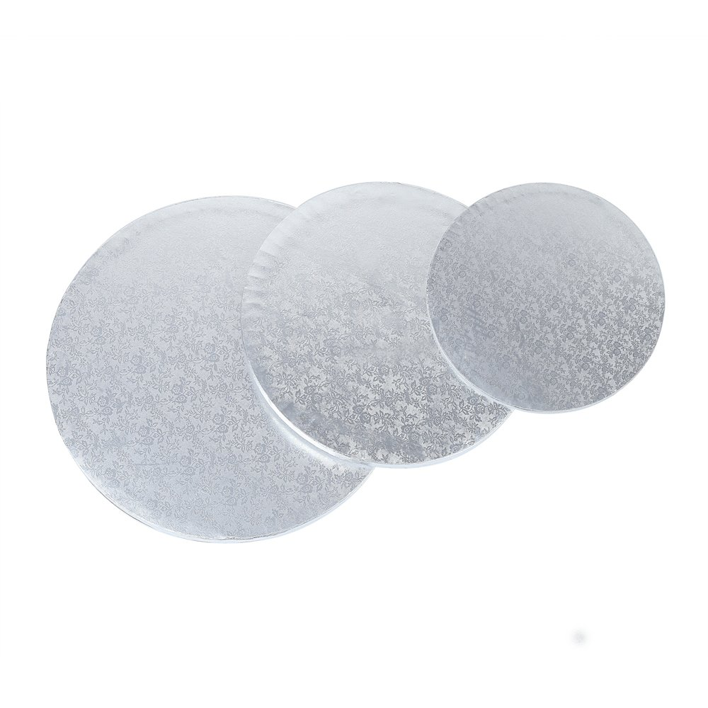 Crystallove 3pcs Round Sliver Cardboard Cake Drum Set 1/2'' Thickness Circle Cake Base for Presenting Decorated Cakes (Mixed Size 8/10/12'')