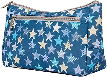 Kiwisac Neceser Bebé Trendy Casual Star Azul con Estrellas   Neceser Bebé Pequeño, Organizador Infantil, Diseño divertido, Doble Compartimento, Poliéster Impermeable, 25 x 9 x16 cm