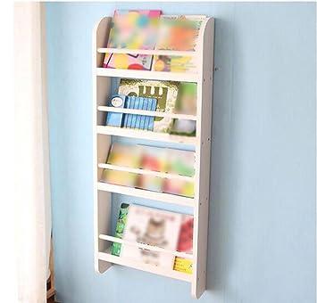 Bücherregal weiß wand  CXQ Einfache Massivholz Kind Wand hängend Auf der Wand Bücherregal ...