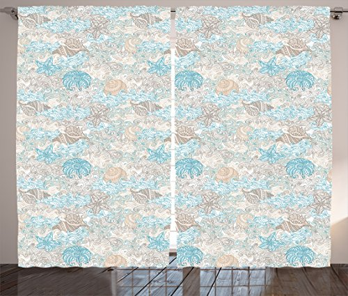 Ambesonne Nautical Curtains, Pastel Toned Sea Shell Starfish Mollusk Seahorse Coral Reef Motif Design, Living Room Bedroom Window Drapes 2 Panel Set, 108 W X 63 L inches, Tan Turquoise ()