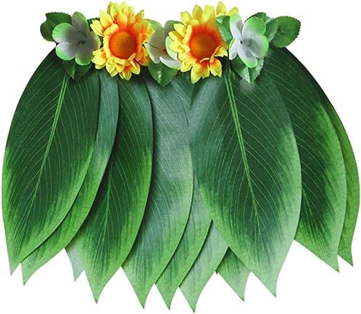 BESTOYARD Falda de Hojas Hawaianas con Flores Artificiales para ...