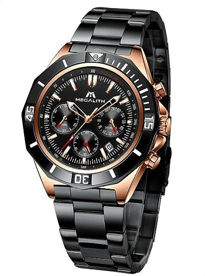Relojes Hombre Relojes Grandes de Pulsera Militar Cronografo Elegante Negro Acero Inoxidable Reloj Hombres Analogicos Impermeable Luminoso
