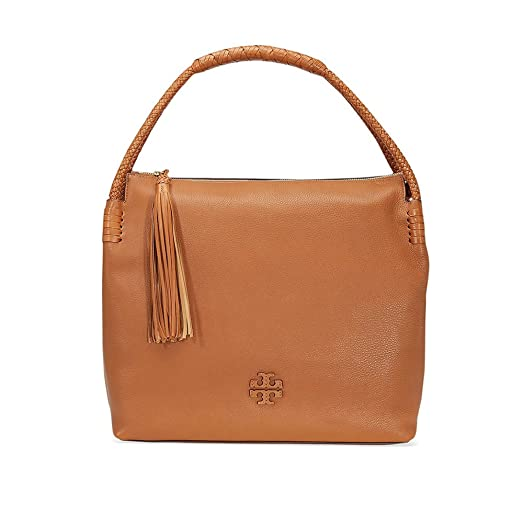 Tory Burch Taylor Pebbled Leather Hobo Bag (Saddle)