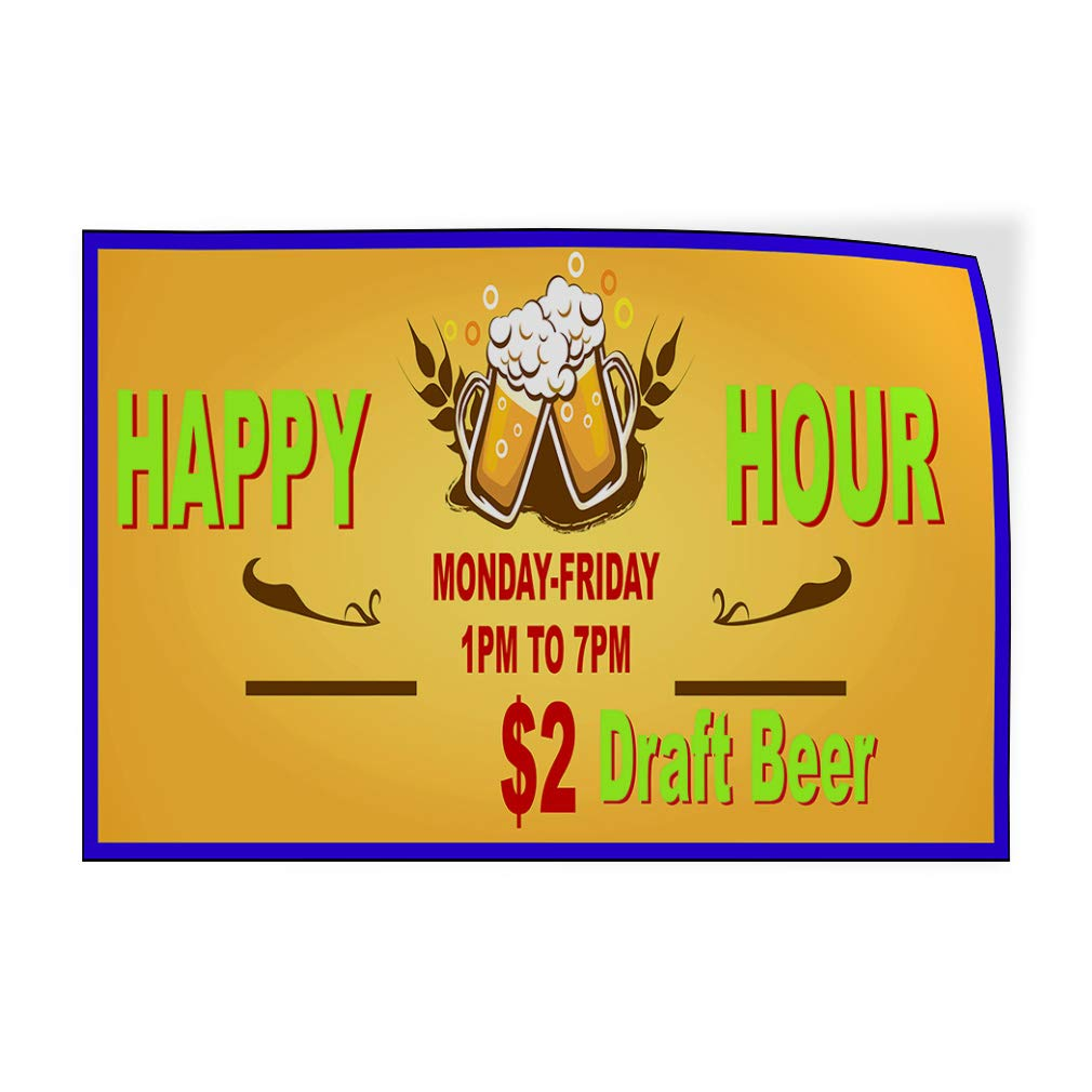 Custom Door Decals Vinyl Stickers Multiple Sizes Happy Hour Days Times Orange Business Happy Hour Signs Outdoor Luggage /& Bumper Stickers for Cars Orange 52X34Inches Set of 5