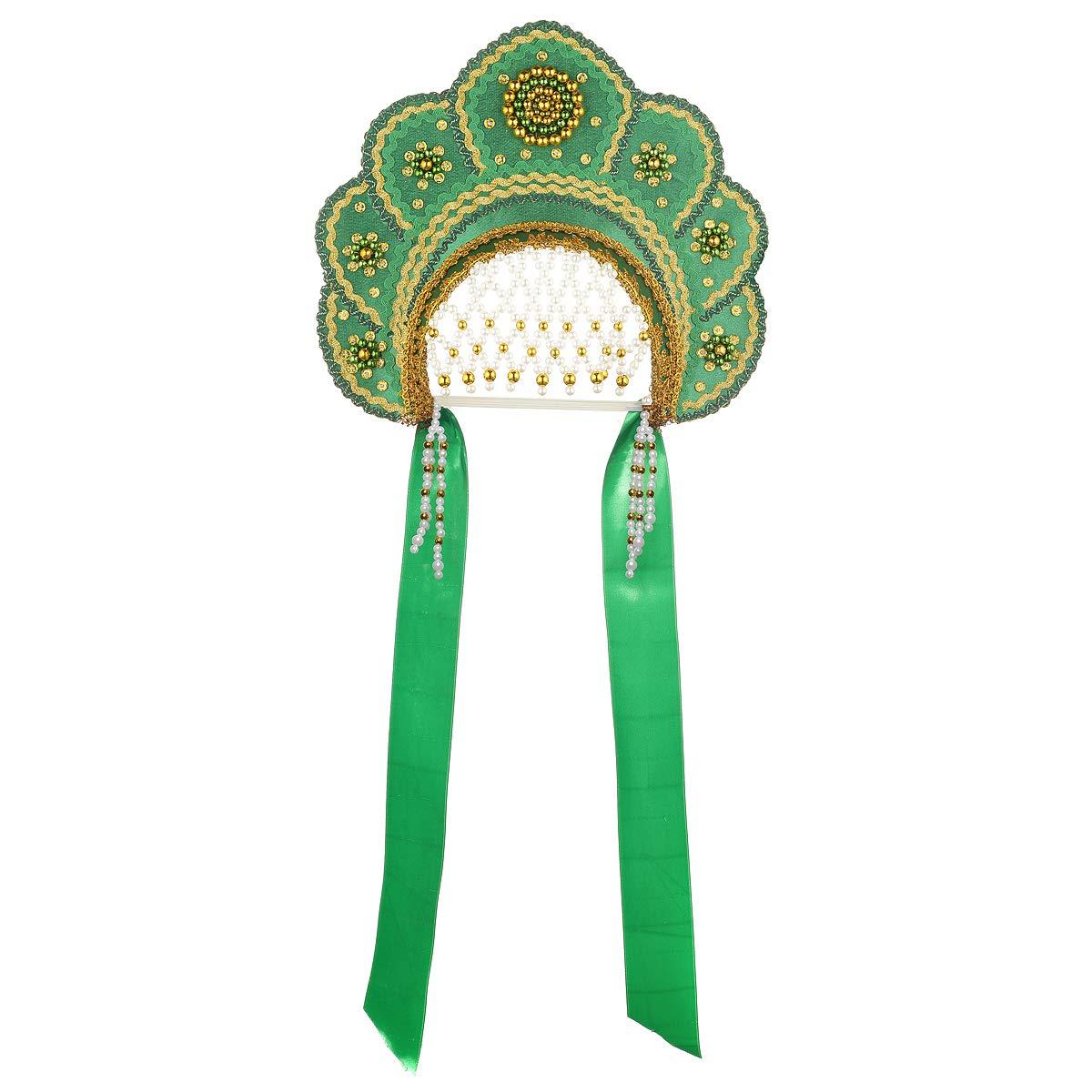 Russian Traditional Folk Costume Headdress Kokoshnik''Elena'' Green #288 by danila-souvenirs