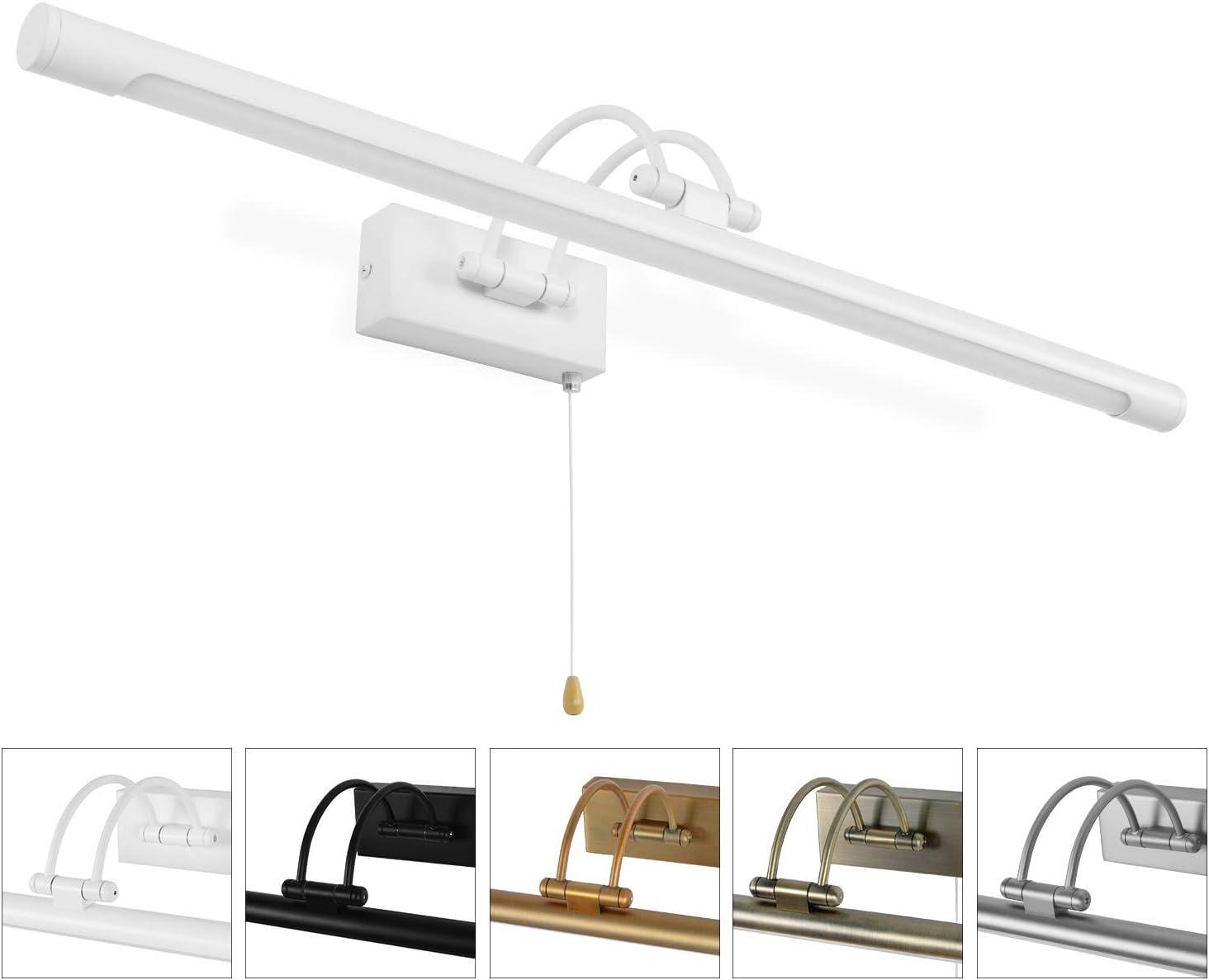 MantoLite LED Lámparas de Pared 12W,Dormitorio Iluminación de Interior Con Cabeza de Lámpara Giratoria e Interruptor,Baño Espejo Apliques de Pared 60CM 840LM Blanco Cálido (Blanco, 60CM)