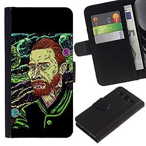 ARTCO Cases - Samsung Galaxy S3 III I9300 - Hardcore Psychedelic Van Gogh Illustration - Cuero PU Delgado caso Billetera cubierta Shell Armor Funda Case Cover Wallet Credit Card
