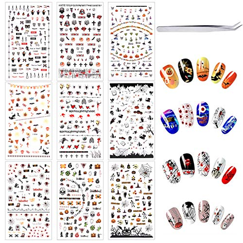 Halloween Toe Nail Ideas (Phogary Halloween Nail Art Stickers (500 pcs+ tweezers), Self-Adhesive 3D Nail Decals - Bats, Spider, Web, Witch, Evils, Red Eye, Pumpkin, Skull - Halloween Party Favors Decorations for Kids,)