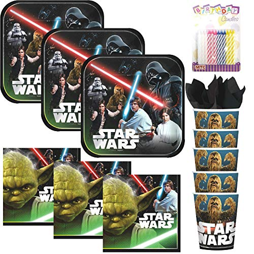 Lobyn Value Pack Classic Star Wars Party Plates Napkins and Cups Served 16 with Birthday Candles - Star Wars Party Supplies (Bundle for -