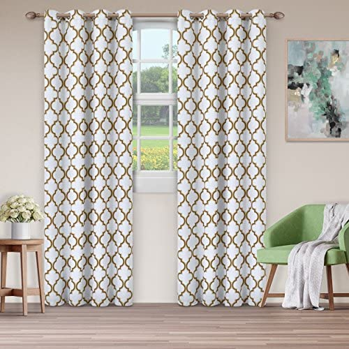 Superior Bohemian Trellis Quality Soft, Insulated, Thermal, Woven Blackout Grommet Printed Curtain Panel Pair Set Of 2 52 x 108 – White