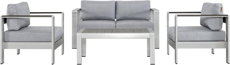 Modway Shore 4-Piece Aluminum Outdoor Patio Furniture Set in Silver Gray