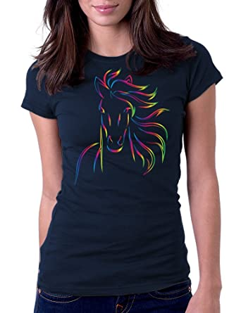 2845e42fb Amazon.com: Women's Horse Bold Color Art Design Tee T-Shirt: Clothing