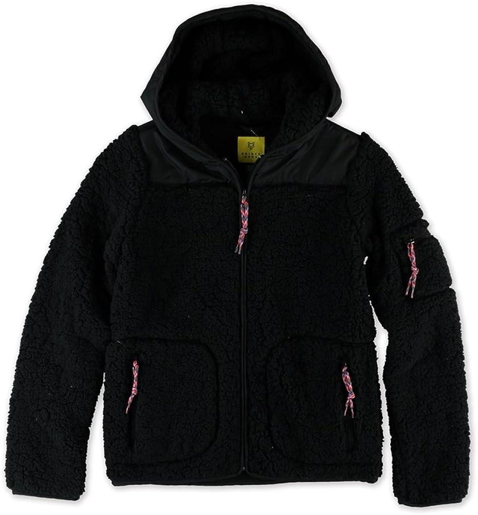Aeropostale Womens Bear Fleece Jacket, Black, Large