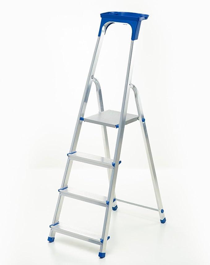 Escalera aluminio – Escalera de 4 peldaños con certificado de calidad TÜV/GS Incluye bandeja multifuncional: Amazon.es: Hogar