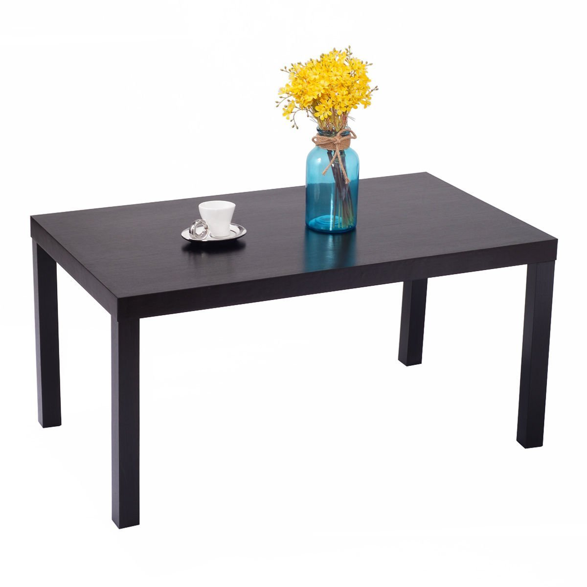 Giantex Rectangular Wood Black Coffee Table One-Layer Modern End Table For Living Room