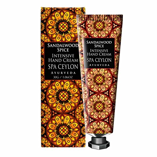 Spa Ceylon Luxury Ayurveda Sandalwood Spice Intensive Hand and Nail Cream, Natural Moisturizing Treatment with Pure Essential Oils Aromatherapy, 30 ()