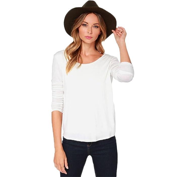 buy popular 0b8ba c6333 DaBag T-Shirt Slim Donna Magliette Bianco Bluse Sexy Casual ...
