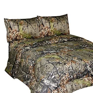 THE WOODS Premium Microfiber CAMO Sheet Set (Natural, Queen)