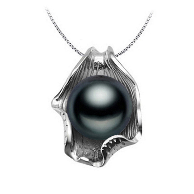 CS-DB Jewelry Silver Pearl Black Big Chain Charm Pendants Necklaces