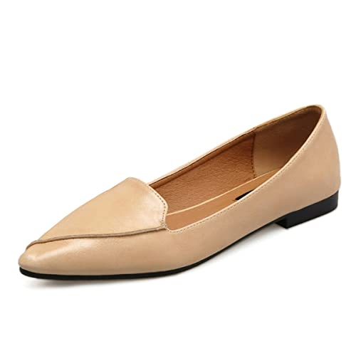 a1d2930ffa2 VFDB Pointy Toe Loafers Women s Classic Slip On Comfort Ballet Flat US 4.5  Beige