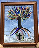 Tree of Life, Stained glass window art Sun Catcher, cross, Christian Art