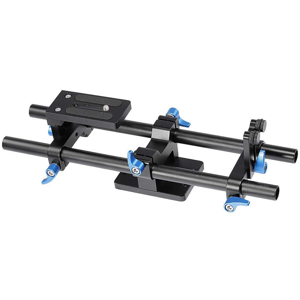 Neewer Aluminum Alloy Rail Movie Making System 15mm Rod Rig Baseplate with 1/4' Screw Quick Release Plate for DSLRs Follow Focus Mattebox