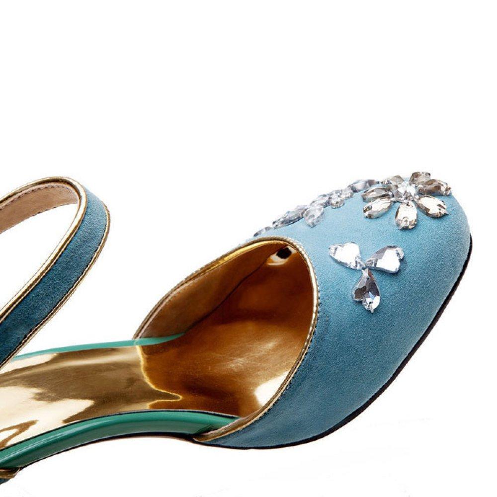 DKFJKI Lady Heels Mary Jane Schuhe Mode Mode Schuhe Strass Sandalen Pumps Kleider Blau 652e37