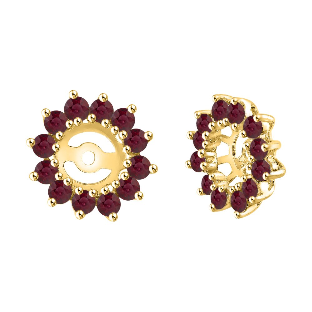 Ruby Floral Earring Jackets in 14K Yellow Gold (1 3/8 cttw) by KATARINA