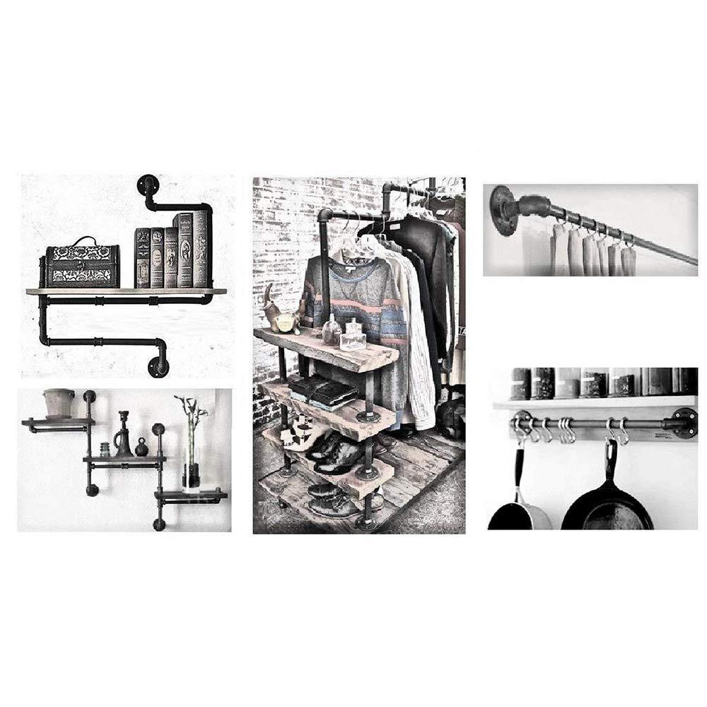Floor Flange Rohrleitungsarmaturen Retro Decor 1//2- Furniture DIY Wall Industrial Plumbing GDRAVEN 5 St/ück Malleable Iron Pipe Fitting Rohrflansch Flansch Temperguss Set 5PCS
