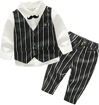 Joycebaby Toddler Boys Long Sleeve Gentleman Bowtie Overalls Outfit Suits Set