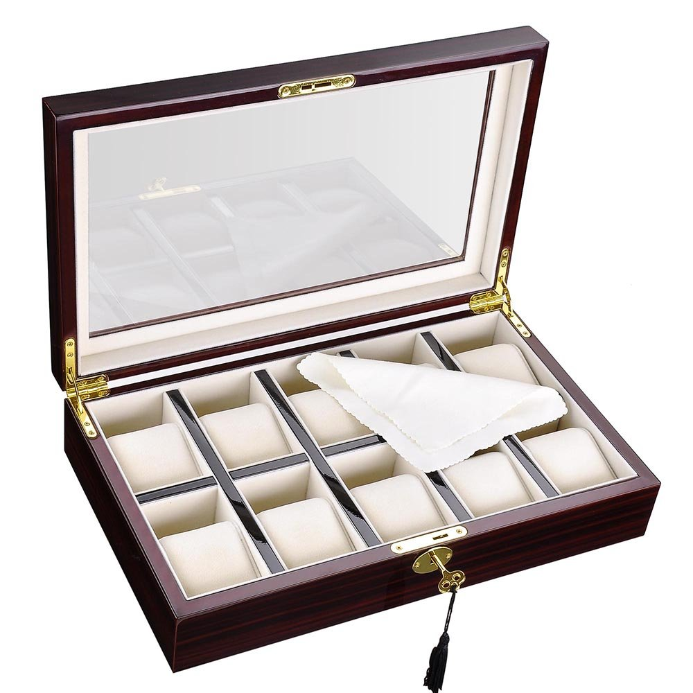 Yescom 10 XXL Slot Wood Watch Case Glass Top Display Box Jewelry Collection Storage Organizer