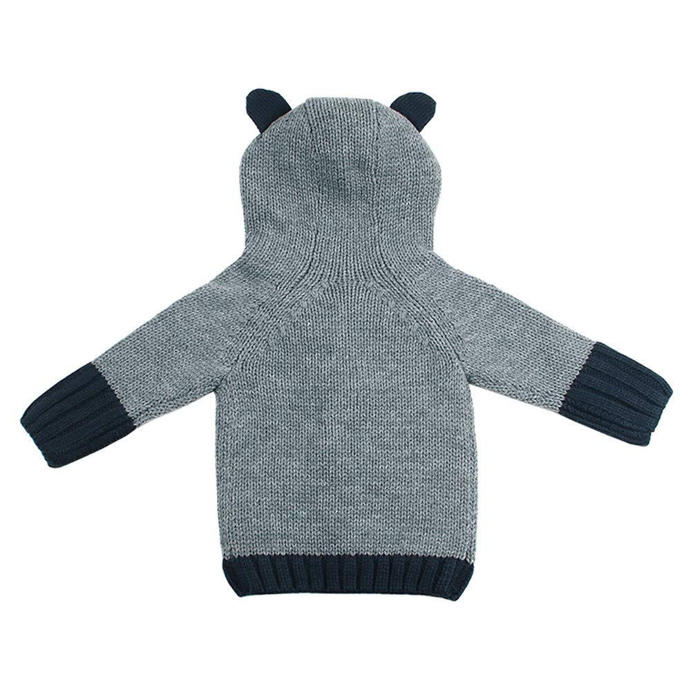 Children Knitted Sweater Coat Vovotrade Cute Boys Girls Hooded Jacket Button Tops Outwear(Gray,110)