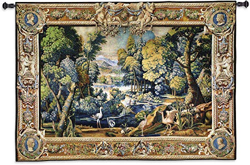 15th Century Landscape | Woven Tapestry Wall Art Hanging | Abundant Medieval Forest with Animals | 100% Cotton USA Size ()